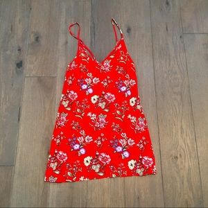 Forever 21 Red floral spaghetti strap dress